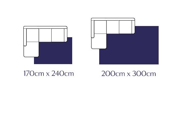 Rug sizes to consider for Corner sofa set